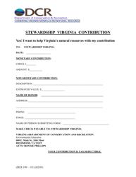 "Form DCR199-151 ""Stewardship Virginia Contribution"" - Virginia"