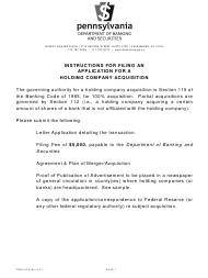 """Form CBHCACQ """"Application for a Holding Company Acquisition"""" - Pennsylvania"""