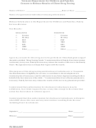 "Form FS-300 (B) ""Consent to Release Results of Client Drug Testing"" - Vermont"