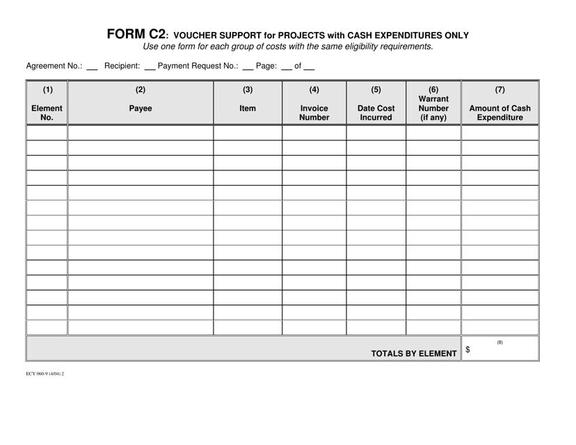 Form C2 (ECY060-9)  Printable Pdf