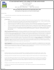 "Form AG-326 ""Application for Certificate of Registration (Cor)"" - Utah"