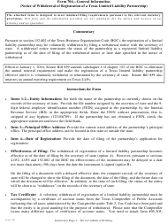 "Form 704 ""Notice of Withdrawal of Registration of a Limited Liability Partnership"" - Texas"