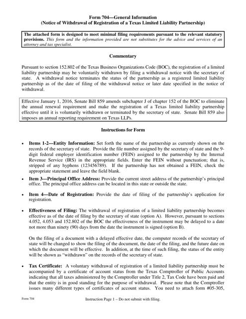 Form 704  Printable Pdf