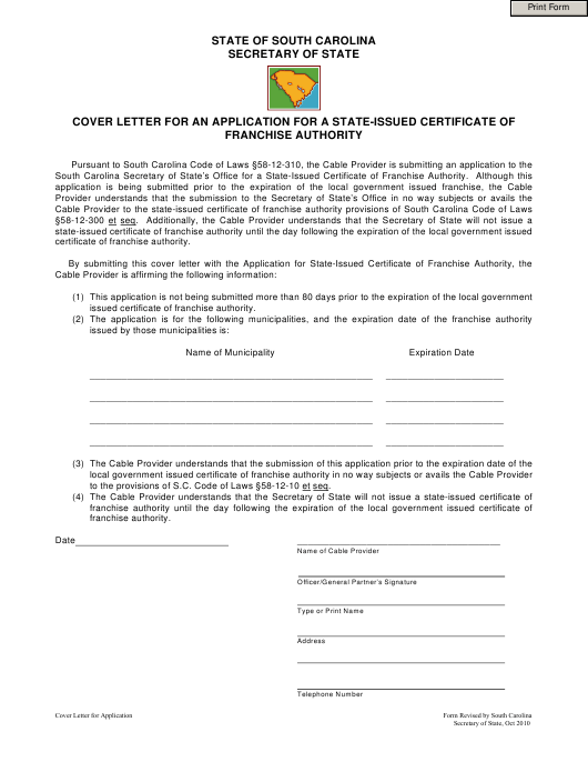 """""""Cover Letter for an Application for a State-Issued Certificate of Franchise Authority"""" - South Carolina Download Pdf"""