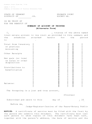"""Form PC117A """"Summary of Account of Trustee (Alternate Form)"""" - Vermont"""