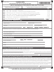 "Form DR-1 ""Application for Copy of Driver Record"" - Texas"