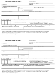 """Form PDE-4565 """"Application for Work Permit"""" - Pennsylvania"""