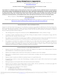 """Form LL-2 """"Employer Response to Wage Claim"""" - Texas"""