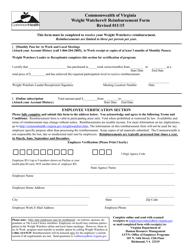 """""""Reimbursement Form - Weight Watchers"""" - Virginia"""