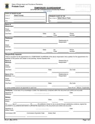 "Form PC-2.1 ""Temporary Guardianship"" - Rhode Island"