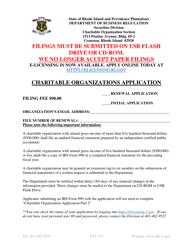 """Charitable Organizations Application Form"" - Rhode Island"