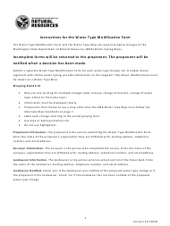 """Instructions for """"Water Type Modification Form"""" - Washington"""