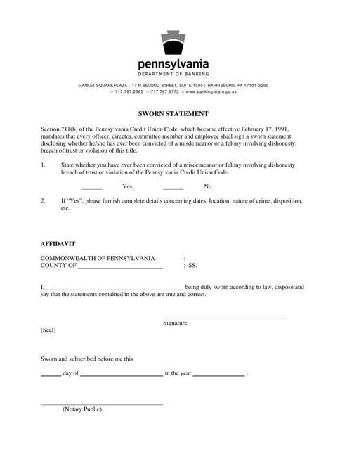 """Sworn Statement"" - Pennsylvania Download Pdf"