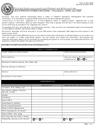 """Form K-902-2286 """"Foster Care and Adoption Parenting Application"""" - Texas"""