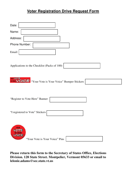 """Voter Registration Drive Request Form"" - Vermont Download Pdf"