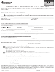 "Form HD02045F ""Adoptee's Application for Noncertified Copy of Original Birth Record"" - Pennsylvania"