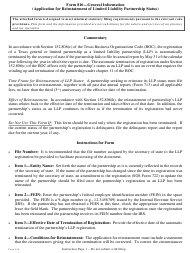 """Form 816 """"Application for Reinstatement of Limited Liability Partnership Status"""" - Texas"""