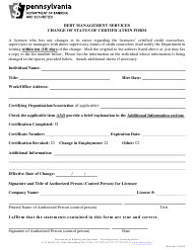 """Change of Status of Certification Form"" - Pennsylvania"