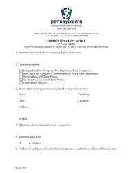 """Foreign Fiduciary Notice"" - Pennsylvania"
