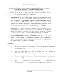 """""""Federal Home Loan Bank Resolution to Request the Sharing of Commonwealth of Pennsylvania Department of Banking and Securities Report of Examination(S)"""" - Pennsylvania"""
