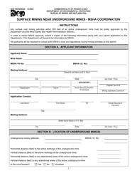 "Form 5600-PM-MR0026 ""Surface Mining Near Underground Mines - Msha Coordination"" - Pennsylvania"