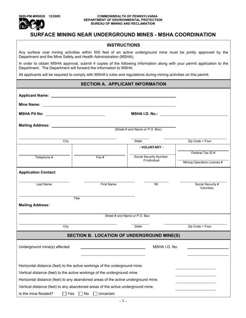 Form 5600-PM-MR0026  Printable Pdf