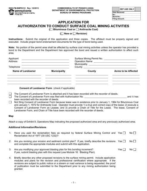 Form 5600-FM-BMP0312  Printable Pdf