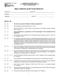 "Form 5600-FM-BMP0086 ""Small Noncoal Blast Plan Checklist"" - Pennsylvania"
