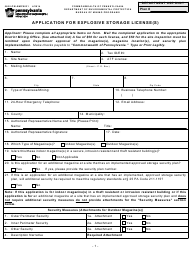 "Form 5600-PM-BMP0031 ""Application for Explosive Storage License(S)"" - Pennsylvania"