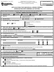 "Form 5600-PM-BMP0032 ""Application for Individual Npdes Permit Associated With Mining Activities"" - Pennsylvania"