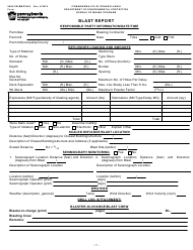 "Form 5600-FM-BMP0340 ""Blast Report"" - Pennsylvania"