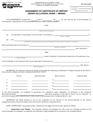 "Form 5600-FM-BMP0409 ""Assignment of Certificate of Deposit Under Collateral Bond - Mining"" - Pennsylvania"