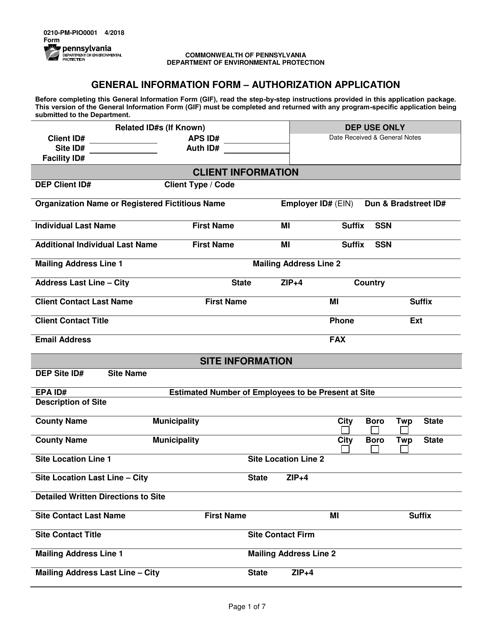 Form 0210-PM-PIO0001  Printable Pdf