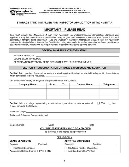 Form 2630-PM-BECB0506C Attachment A  Printable Pdf