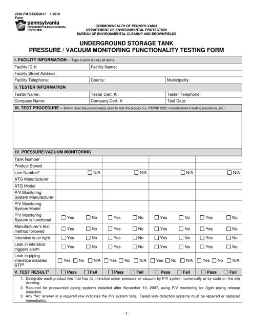 Form 2630-FM-BECB0017  Printable Pdf