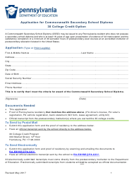 """""""Application for Commonwealth Secondary School Diploma 30 College Credit Option"""" - Pennsylvania"""