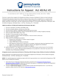 """Form PDE338 R-4 """"Request for Appeal: Act 48/Act 45"""" - Pennsylvania"""