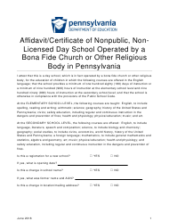 """""""Affidavit/Certificate of Nonpublic, Nonlicensed Day School Operated by a Bona Fide Church or Other Religious Body in Pennsylvania"""" - Pennsylvania"""