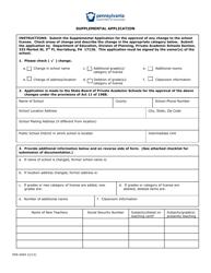 "Form PDE-4004 ""Supplemental Application"" - Pennsylvania"