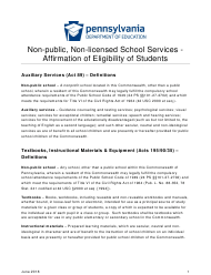 """""""Affirmation of Eligibility of Students Acts 89 - Auxiliary Services Acts 195/90/35 - Textbooks/Instructional Materials/Equipment"""" - Pennsylvania"""