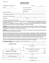 "Form PDE-1665 ""Contract Bond"" - Pennsylvania"