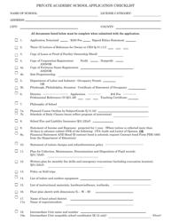 "Form PDE-1638 ""Private Academic School Application Checklist"" - Pennsylvania"