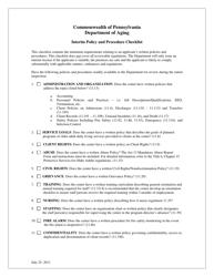"""Interim Policy and Procedure Checklist"" - Pennsylvania"