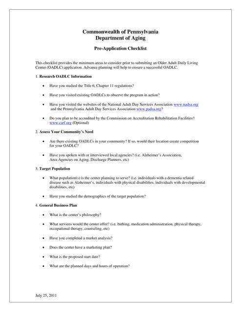 """Pre-application Checklist"" - Pennsylvania Download Pdf"