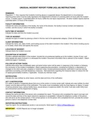 "Instructions for Form AGL-09 ""Unusual Incident Report Form"" - Pennsylvania"