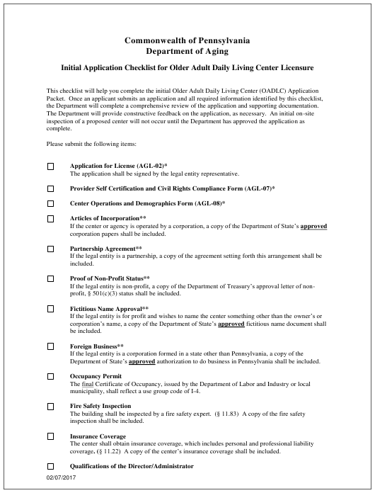 """""""Initial Application Checklist for Older Adult Daily Living Center Licensure"""" - Pennsylvania Download Pdf"""