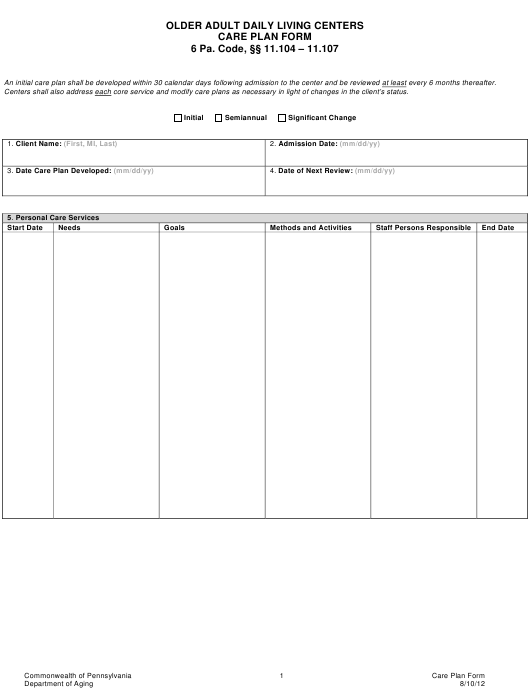 """""""Older Adult Daily Living Centers Care Plan Form"""" - Pennsylvania Download Pdf"""