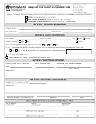"""Form DDAP-EFM-1320 """"Request for Client Authorization"""" - Pennsylvania"""