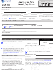 "Form HD02080F ""Application for a Death Certificate"" - Pennsylvania"