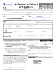 "Form HD02090F ""Application for a Stillborn Birth Certificate"" - Pennsylvania"
